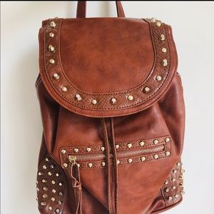 Aldo Faux Leather Gold Studded Brown Backpack